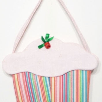 cupcake purse goodie bag cloth gift bag party favor light pink multi stripe  cup92