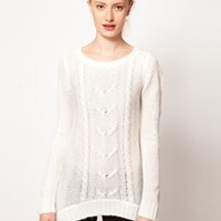 Vero Moda Long Chunky Cable Knit Jumper at asos.com