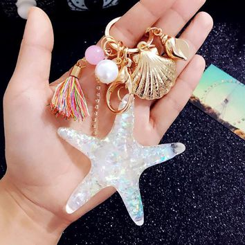 Starfish Pearl Key Chain