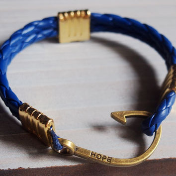 Braided leather Bracelet, Nautical twisted leather bracelet, Gold mens bracelet, Blue leather bracelet, Hook bracelet, fish hook bracelet