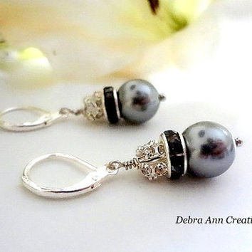 Swarovski Grey Pearl and Crystal Earring Gray Wedding Bridal Jewelry Mother of Bride Groom Gift Bridesmaid Earrings Clip Grey Pearl Earrings