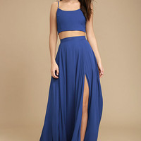 Thoughts of You Royal Blue Two-Piece Maxi Dress