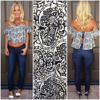 All Wired Up Printed Off Shoulder Top - BLACK & WHITE