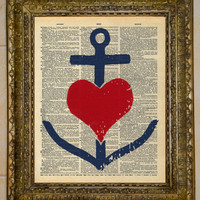 Anchor Heart Dictionary Art