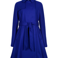Wool trench coat - Bright Blue | Jackets & Coats | Ted Baker ROW