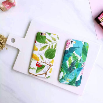 Cool Summer Green leaves Plastic PC Phone Case For iphone 6 6 6plus 6s 6s+ Back plastic hard back Cover -0322