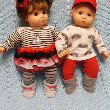 "American Girl BITTY TWINS clothes Bitty Baby clothes ""Two Racoons"" (15 inch) Boy and Girl Twins Set Christmas doll outfit"