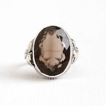Antique Arts & Crafts Sterling Silver Smoky Quartz Ring - 1910s Vintage Size 5 1/4 Est 9 Carat Genuine Dark Brown Gem Leaf Statement Jewelry