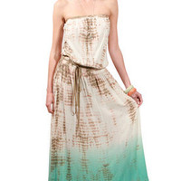 Gypsy05 Audry Tube Maxi Dress in Tan/Aqua for sale online from Carolina Boutique in Mill Valley