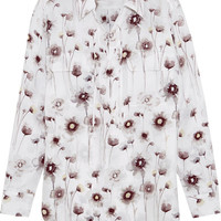 Equipment - Knox lace-up floral-print washed-silk shirt