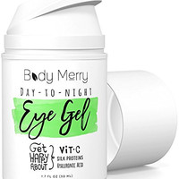 Vitamin C Eye Gel Cream for Dark Circles & Puffiness - Best Anti-Aging Moisturizer with Natural Hyaluronic Acid + Matrixyl + Organic Aloe to Fight Wrinkles & Lines - For Men Too - 1.7 oz - Body Merry