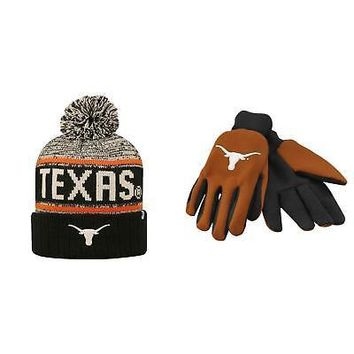 Licensed NCAA Texas Longhorns Grip Work Glove And Acid Rain Beanie Hat 2 Pack 08703 KO_19_1