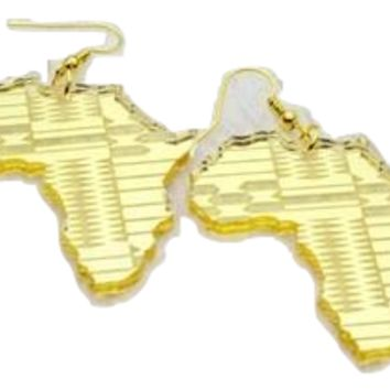Small gold mirror style map of Africa | Africa shaped| African| Natural hair | Afrocentric jewelry