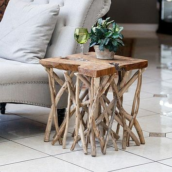 Teak Driftwood Branched-Out Table - Square 22-in