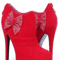 RED VELVET ALMOND TOE GEMSTONE ACCENTED BOW HIGH HEEL BOOTIES