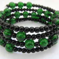 Emerald Green and Black Memory Wire Bracelet
