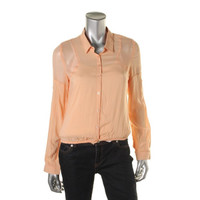 American Rag Womens Chiffon Trim Collared Button-Down Top