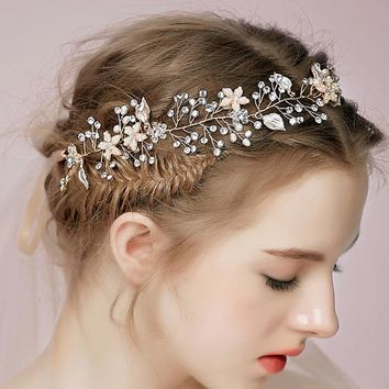 Luxury Wedding Hair Accessories For Bridal Crytal Rhinestone Flowers Headbands Handmade Women Headdress Hair Jewelry Hair Band