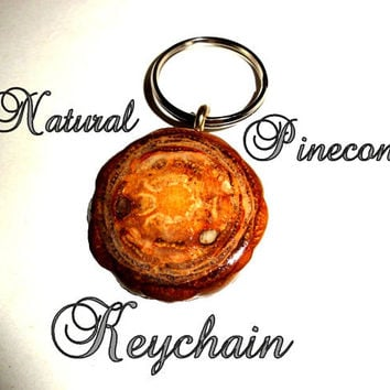 No.1 Keychain, keyring, key chains, key rings, natural pinecone keychains unique gift