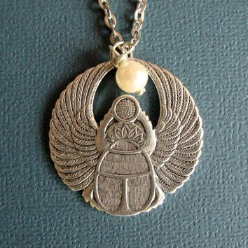 Egyptian Scarab Beetle Necklace by SimplyChacha