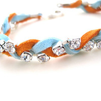 Leather and Rhinestone Bracelet, Powder Blue, Orange