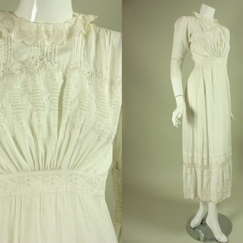 1900's EDWARDIAN EMBROIDERED DRESS Vintage White Tea-Length Wedding Pintucks Hand-Embroidery Filet Lace Teens 1910's Antique