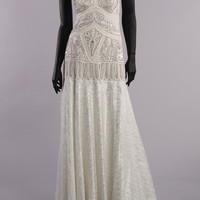 Vintage 1920s Inspired Sue Wong Drop Waist Beaded Sleeveless Cris Cross Back Lace Skirt White Bridal Wedding Gown Size 10