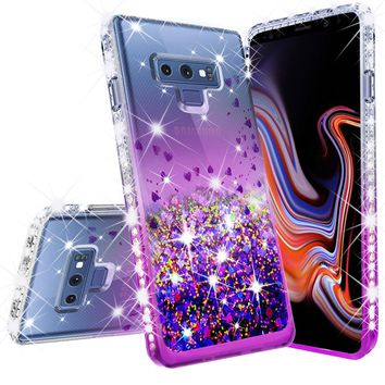 Samsung Galaxy Note 9 Case, SM-N960U Case Liquid Glitter Phone Case Waterfall Floating Quicksand Bling Sparkle Cute Protective Girls Women Cover for Galaxy Note 9 - Purple