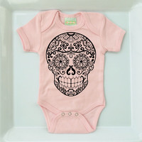 Sugar Skull Tattoo Pastel Pink Romper. 3 6 12 18 months. Trendy One-piece Baby Clothes. Blush Bodysuit Creeper. Cute Infant Girl Jumper