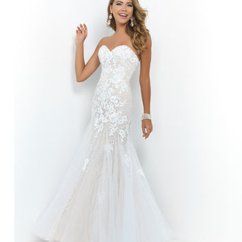 White Nude Silver Strapless Sweetheart Lace Sequin Trumpet Gown