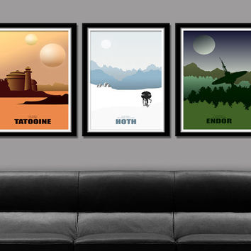 Star Wars Minimalist Movie Poster Set - 13 X 19 Home Decor