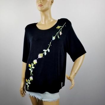 Kokomo Travel Knit Top Black Floral Embroidery Beads Slinky Top Blouse Sz L