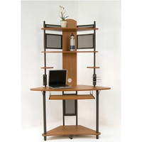 Tower Computer Desk in Pewter Teak Finish