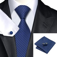 Classic Blue Stripe Necktie Suit Set for Men