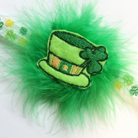 Saint Paddie's Day Girl Headband - Leprechaun Hat Headband - Green Marabou Puff Headband for St. Patrick's Day - Shamrock Headband for Girl