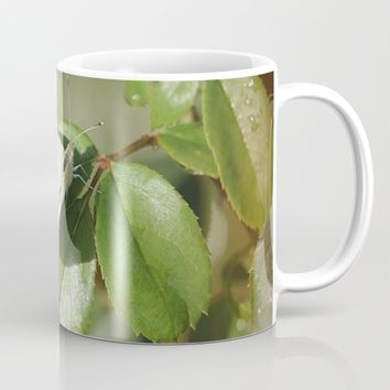 White Butterfly On Rosebush Mug by Theresa Campbell D'August Art