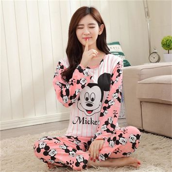 AUTUMN 2017 Pyjamas women Clothing Long Sleeve Tops pants Set ladies Pyjamas Sets Night Suit Sleepwear carton women pajamas sets