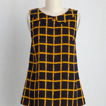 To the Nines Sleeveless Top in Navy Grid | Mod Retro Vintage Short Sleeve Shirts | ModCloth.com