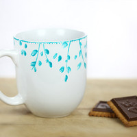 Hand Painted Ceramic Mug Tea Cup With turquoise by SylwiaGlassArt