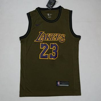 Los Angeles Lakers #23 LeBron James NBA Salute To Service Jerseys - Best Deal Online