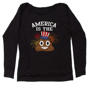 America Is The Poop Emoticon Slouchy Off Shoulder Oversized Sweatshirt