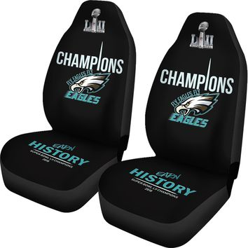 Philadelphia Eagles Car Seat Cover 2pcs Midnight Green Black Eagles Champions