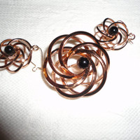 Copper Tone Swirl Brooch Earring Set