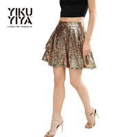 YIKUYIYA Apparel Summer Shiny Skirt Women Golden Draped Party A-line Skirt Sequined Pleated Rocking Streetwear Mini Skirt