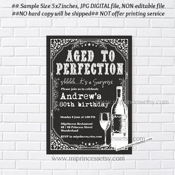 wine invitation, Wine birthday invitation, Vintage style design retro red wine , Aged to Perfection 30th 40th 50th 60th 70th 80th - card 203
