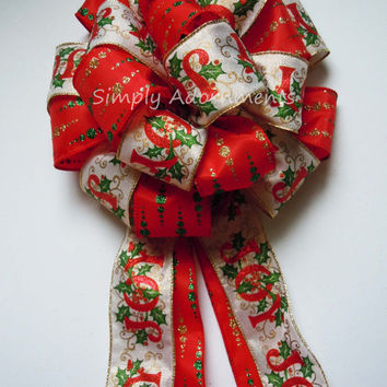 JOY Scripts Christmas Tree Bow Red Green Christmas Hollies Tree Top Bow Winter Holidays JOY Scripts Wreath Swag Bow