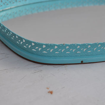 Vintage Vanity Tray painted aqua large size jewelry holder bedroom decor bathroom decor