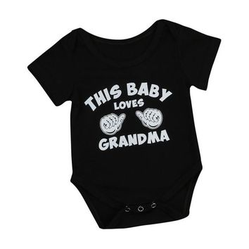 """Baby Clothes Letter Print """"this baby loves grandma"""""""