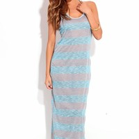 BLUE GREY STRIPED SLEEVELESS RACER BACK LONG MAXI DRESS