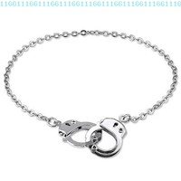 BERRICLE Silvertone Handcuffs Anklet Ankle Bracelet Chain:Amazon:Jewelry